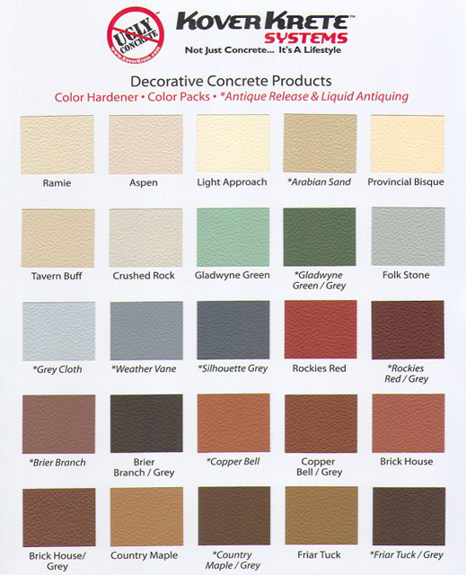 View Our Color Chart For Details.